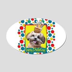Birthday Cupcake - ShihPoo 22x14 Oval Wall Peel