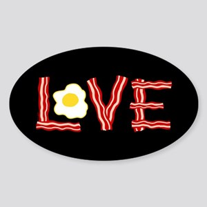 Love Bacon and Eggs Sticker (Oval)