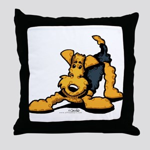 Airedale at Play Throw Pillow