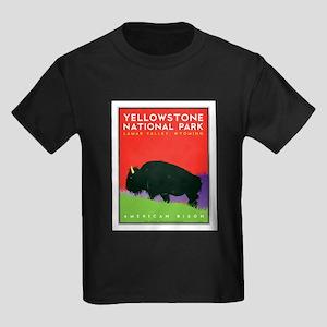 Yellowstone NP: Bison Kids Dark T-Shirt
