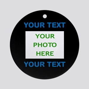 Your Text & Photo (Blue Text on Bla Round Ornament