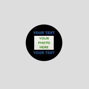 Your Text & Photo (Blue Text on Black Mini Button