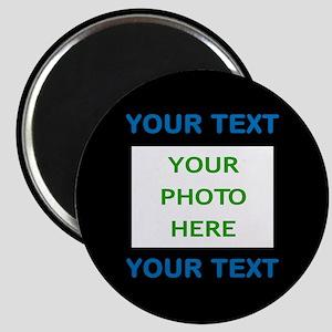 Your Text & Photo (Blue Text on Black Backg Magnet