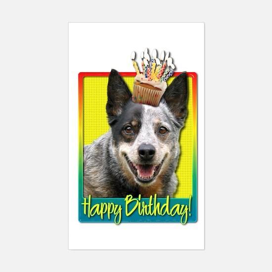 Birthday Cupcake - Cattle Dog Sticker (Rectangle)