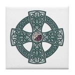 Green Celtic Cross Irish Tile Coaster
