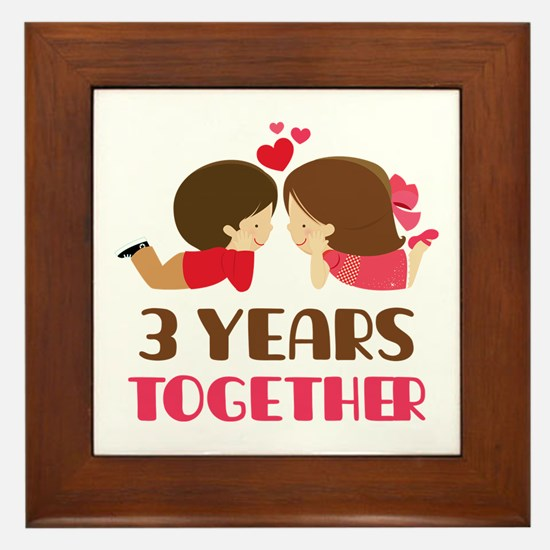 3 Years Together Anniversary Framed Tile