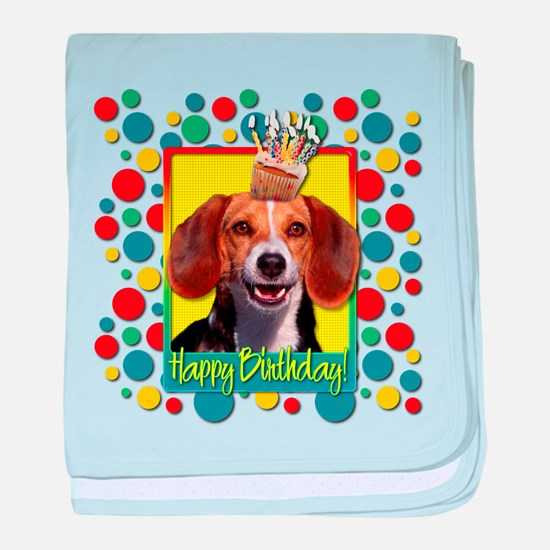 Birthday Cupcake - Beagle baby blanket