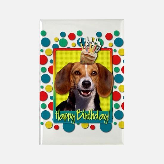 Birthday Cupcake - Beagle Rectangle Magnet