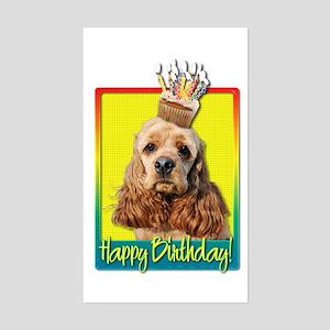 Birthday Cupcake - Cocker Spaniel Sticker (Rectang