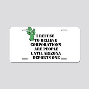 Arizona Deports Corporations Aluminum License Plat