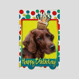 Birthday Cupcake - Irish Setter Rectangle Magnet