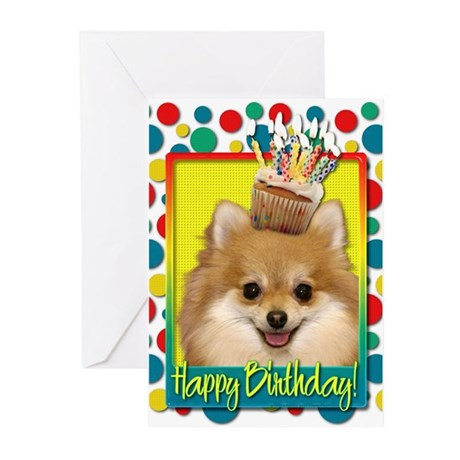 Birthday Cupcake - Pom Greeting Cards (Pk of 10)