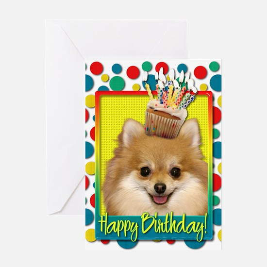 Birthday Cupcake - Pom Greeting Card