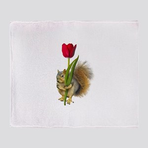 Squirrel Red Tulip Throw Blanket