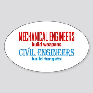 Mechanical vs. Civil Sticker (Oval)