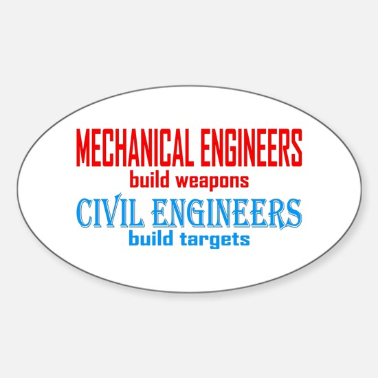 Mechanical vs. Civil Sticker (Oval)