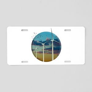 Wind Turbines Painted Sky Aluminum License Plate
