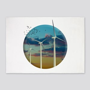 Wind Turbines Painted Sky 5'x7'Area Rug