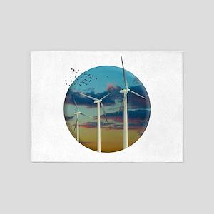 Wind Turbines Painted Sky 5'x7'Area Rug