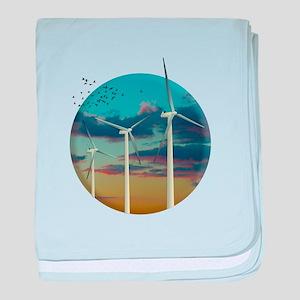 Wind Turbines Painted Sky baby blanket