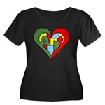 Art Heart Women's Plus Size Scoop Neck Dark T-Shir