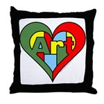 Art Heart Throw Pillow