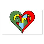 Art Heart Sticker (Rectangle 10 pk)