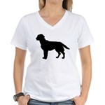 Labrador Retriever Silhouette Women's V-Neck T-Shi