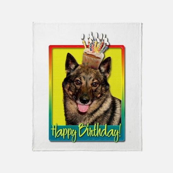 Birthday Cupcake - Vallhund Throw Blanket