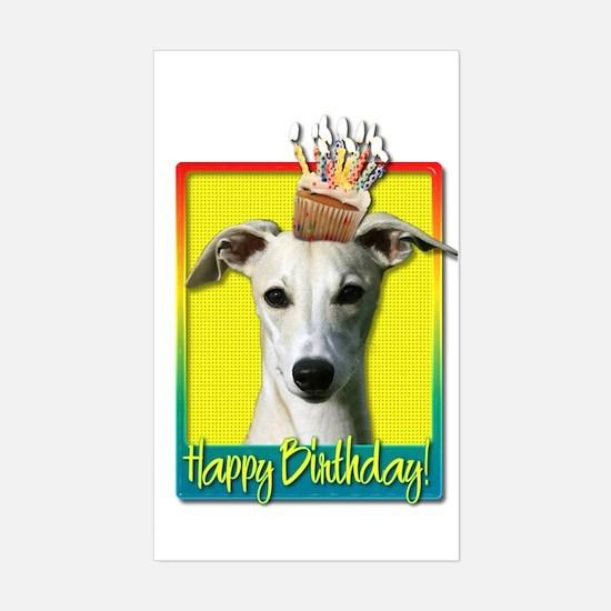 Birthday Cupcake - Whippet Sticker (Rectangle)