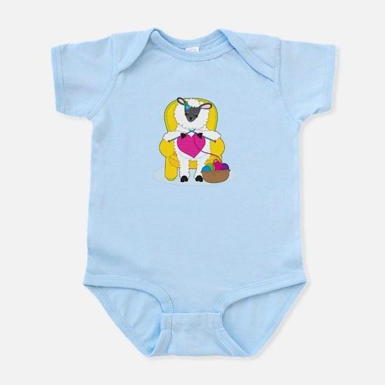 Sheep Knitting Heart Infant Bodysuit