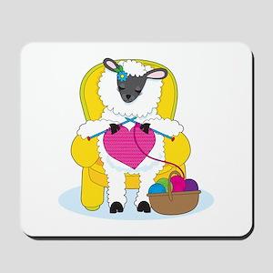 Sheep Knitting Heart Mousepad