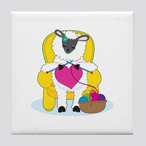 Sheep Knitting Heart Tile Coaster