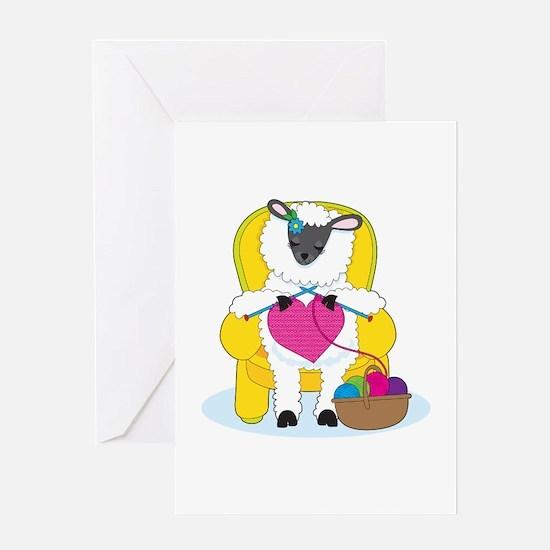 Sheep Knitting Heart Greeting Card