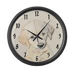 Golden Retriever Puppy Large Wall Clock