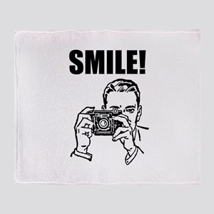 Vintage Camera Smile Throw Blanket