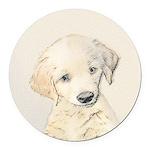 Golden Retriever Puppy Round Car Magnet