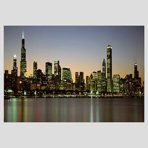 Skyline at dusk Chicago IL