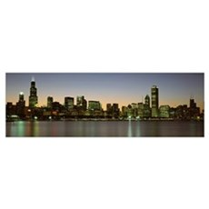 Skyline at dusk Chicago IL Framed Print