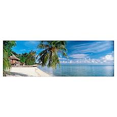 House on the beach, Matira Beach, Bora Bora, Frenc Poster