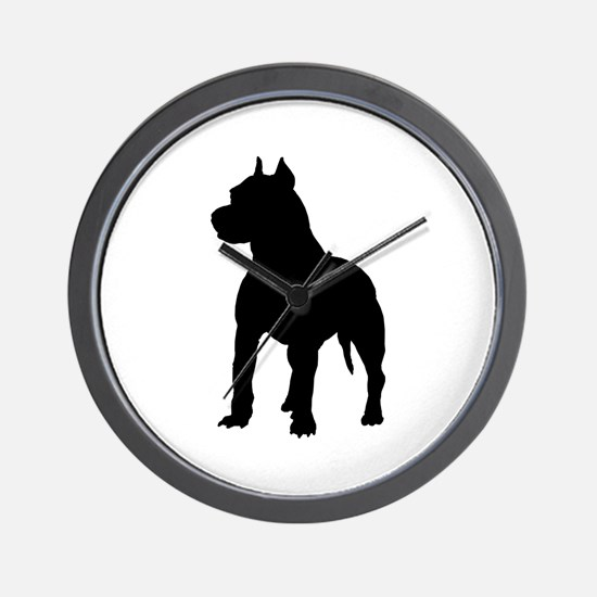 Pit Bull Terrier Silhouette Wall Clock