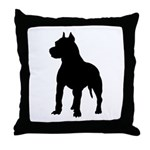 Pit Bull Terrier Silhouette Throw Pillow