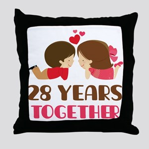 28 Years Together Anniversary Throw Pillow