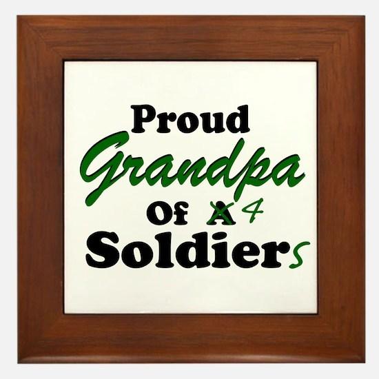 Proud Grandpa 4 Soldiers Framed Tile