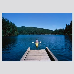 Rear view of a man on a kayak in a river, Orcas Is