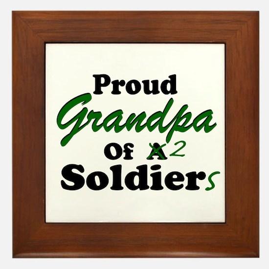 Proud Grandpa 2 Soldiers Framed Tile