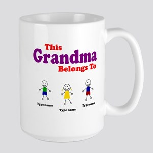 Personalized Grandma 3 kids Large Mug