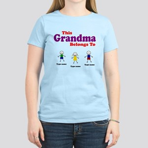 Personalized Grandma 3 kids Women's Light T-Shirt