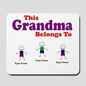 Personalized Grandma 3 kids Mousepad