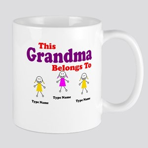 Personalized Grandma 3 girls Mug